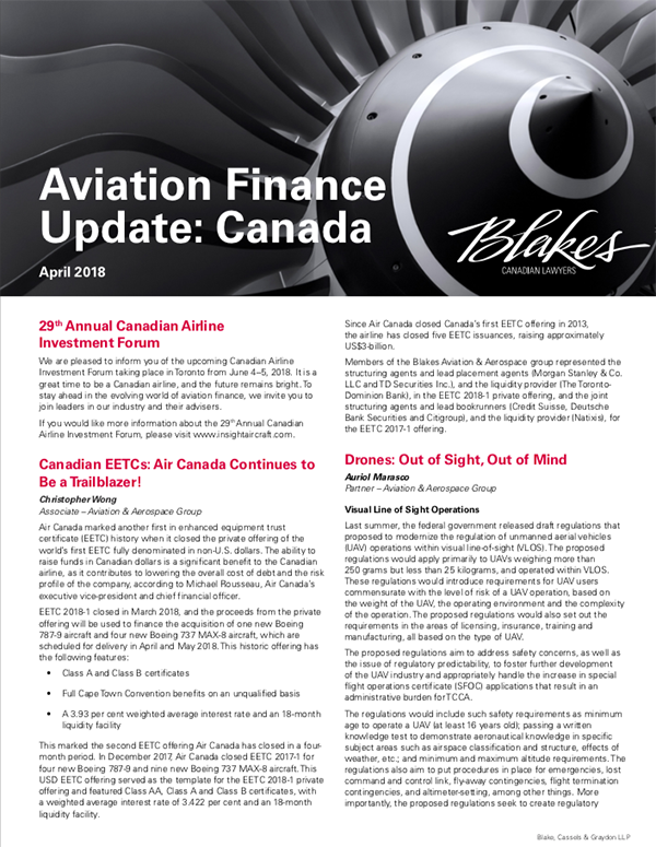 Aviation finance update canada insight aircraft for 120 broadway 5th floor new york ny 10271